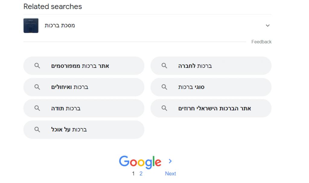 שימוש ב Related Searches בתחתית עמוד ה - Serp